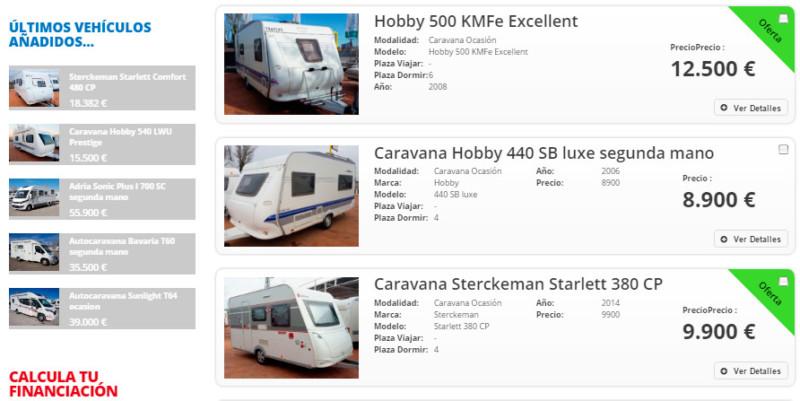 Caravanas segunda mano baratas